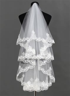 One-tier Waltz Bridal Veils With Lace Applique Edge (006013292)