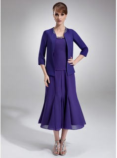 A-Line Scoop Neck Tea-Length Chiffon Mother of the Bride Dress With Ruffle Beading Sequins (008005996)