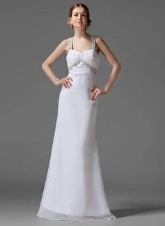 Empire Sweetheart Sweep Train Chiffon Holiday Dress With Ruffle Beading (020003243)