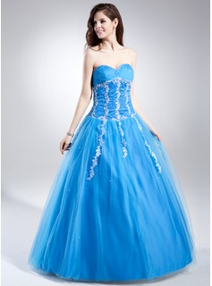 Ball-Gown Sweetheart Floor-Length Tulle Quinceanera Dress With Ruffle Beading Appliques Lace Sequins (021015864)
