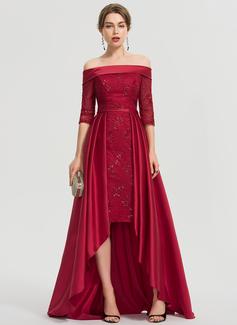 Трапеция Выкл-в-плечо асимметричный Атлас Платье Для Выпускного Вечера (018192901)