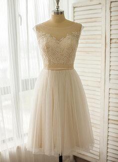 Corte A Ilusão Coquetel Tule Renda Vestido de noiva (002118042)