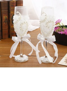Simple Design/Classic Toasting Flutes With Ribbon Bow (126199815)