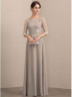 A-Line Scoop Neck Floor-Length Chiffon Lace Evening Dress With Crystal Brooch Sequins (017192583)