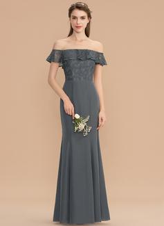 Trompete/Sereia Off-the-ombro Longos Tecido de seda Renda Vestido de madrinha (007176731)