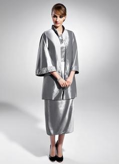 Tubo Decote redondo Comprimento médio Tafetá Vestido para a mãe da noiva com Pregueado Beading (008015056)