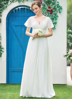 Empire V-neck Floor-Length Chiffon Wedding Dress With Beading Pleated (002042302)