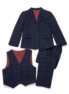 Boys 3 Pieces Plaid Ring Bearer Suits /Page Boy Suits With Jacket Vest Pants (287199752)