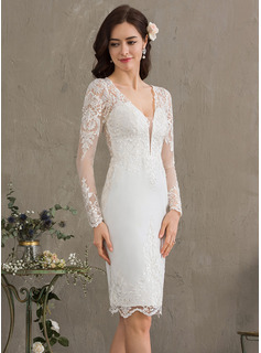 Sheath/Column V-neck Knee-Length Stretch Crepe Wedding Dress (002186402)