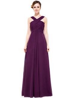 A-Line Y-neck Floor-length Chiffon Bridesmaid Dress (007051433)