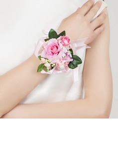 Cute Free-Form Satin/Cotton Wrist Corsage (124032023)