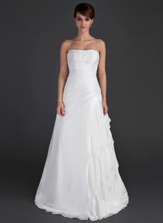 A-Line/Princess Strapless Floor-Length Taffeta Wedding Dress With Beading Cascading Ruffles (002012595)