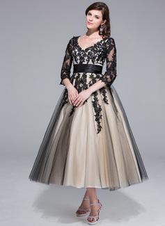 Платье для Балла V-образный Длина ниже колен Шармёз Тюль Свадебные Платье с Рябь аппликации кружева (002024298)