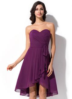 A-Line Sweetheart Asymmetrical Chiffon Bridesmaid Dress (007050075)
