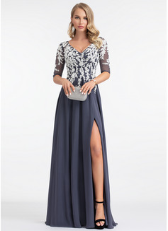 A-Line V-neck Floor-Length Chiffon Evening Dress With Split Front (017198659)