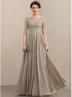 A-Line Scoop Neck Floor-Length Chiffon Lace Evening Dress With Sequins (017211399)