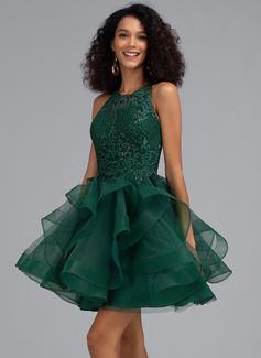 Платье для Балла/Принцесса Круглый Мини-платье Тюль Платье для Встречи Выпускников с блестки (022203137)