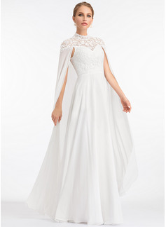 Corte A Gola alta Longos Tecido de seda Vestido de noiva (002207443)