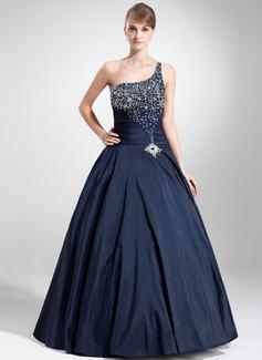Платье для Балла Одно плечо Длина до пола Тафта Пышное платье с развальцовка блестки (021020793)