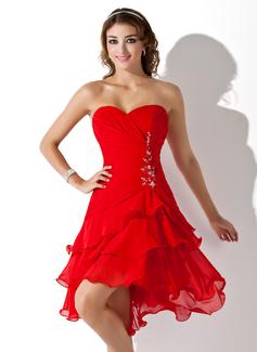 A-Line Sweetheart Asymmetrical Chiffon Homecoming Dress (022009369)
