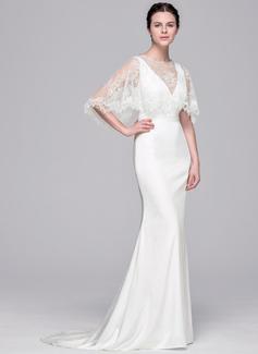 Sheath/Column V-neck Sweep Train Satin Wedding Dress (002071537)