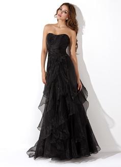 Vestidos princesa/ Formato A Coração Longos Organza de Vestido de festa com Babados em cascata (017013725)