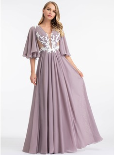A-Line V-neck Floor-Length Chiffon Evening Dress With Lace (017198647)