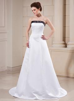 Трапеция/Принцесса Без лямок Церемониальный шлейф Атлас Свадебные Платье с Лента развальцовка (002000068)