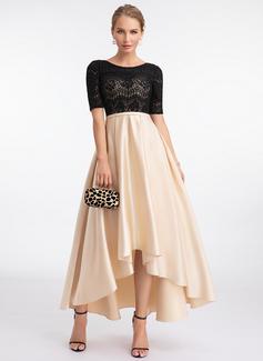 A-Line Scoop Neck Asymmetrical Satin Evening Dress (017198661)