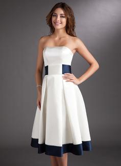 Трапеция Без лямок Длина до колен Атлас Свадебные Платье с Лента Бант(ы) (002000067)