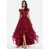 A-Line Off-the-Shoulder Asymmetrical Tulle Wedding Dress With Beading Sequins Bow(s) (002207439)