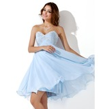 Empire Sweetheart Knee-Length Chiffon Homecoming Dress With Embroidered Beading Sequins (022020904)