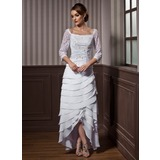 A-Line Square Neckline Asymmetrical Chiffon Wedding Dress With Lace Beading Cascading Ruffles (002012184)
