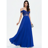 A-Line Sweetheart Off-the-Shoulder Floor-Length Chiffon Prom Dresses With Beading Sequins (018175909)