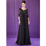 Empire V-neck Sweep Train Chiffon Mother of the Bride Dress With Lace Beading (008018687)