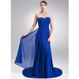 Empire Sweetheart Court Train Chiffon Bridesmaid Dress With Ruffle (007022517)