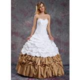 Ball-Gown Sweetheart Floor-Length Taffeta Quinceanera Dress With Ruffle Beading (021003114)