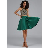 A-Line Halter Short/Mini Satin Homecoming Dress (022203122)