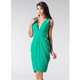 Sheath/Column V-neck Knee-Length Chiffon Holiday Dress With Ruffle (020036586)