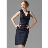 Sheath/Column V-neck Knee-Length Taffeta Mother of the Bride Dress With Ruffle Flower(s) (008020634)