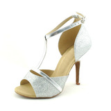 Women's Sparkling Glitter Heels Sandals Latin With T-Strap Dance Shoes (053020131)