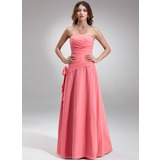 A-Line/Princess Strapless Floor-Length Chiffon Bridesmaid Dress With Ruffle Flower(s) (007001081)