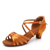 Women's Silk Latin With Buckle Dance Shoes (053208561)