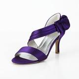 Women's Satin Spool Heel Peep Toe Sandals With Bowknot Velcro (047029878)