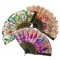 Floral Design Plastic/Silk Hand fan (Set of 4) (051055111)