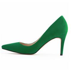 Women's Suede Stiletto Heel Pumps Closed Toe shoes (085059048)