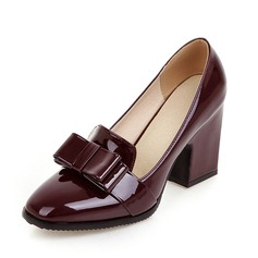 Women's Patent Leather Chunky Heel Pumps Closed Toe shoes (085092736)