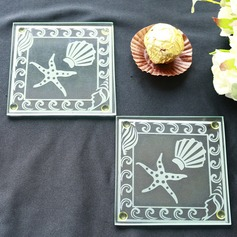 Shell and Starfish Frosted Glass Coasters  (Set of 2) (051145125)