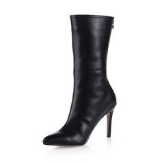 Women's Leatherette Stiletto Heel Mid-Calf Boots shoes (088038177)