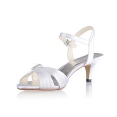 Женщины шелка как атласное Круглый зауженный каблук Сандалии Босоножки с пряжка (047026750)
